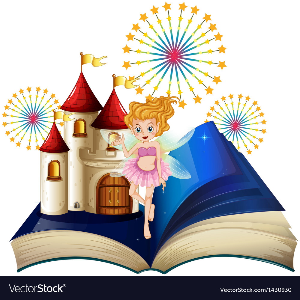 A storybook with a fairy a castle and fireworks vector | Price: 1 Credit (USD $1)