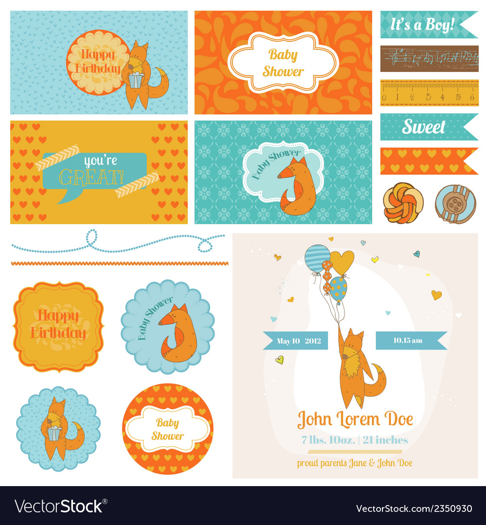 Baby shower cute foxes set - for party decoration vector | Price: 3 Credit (USD $3)