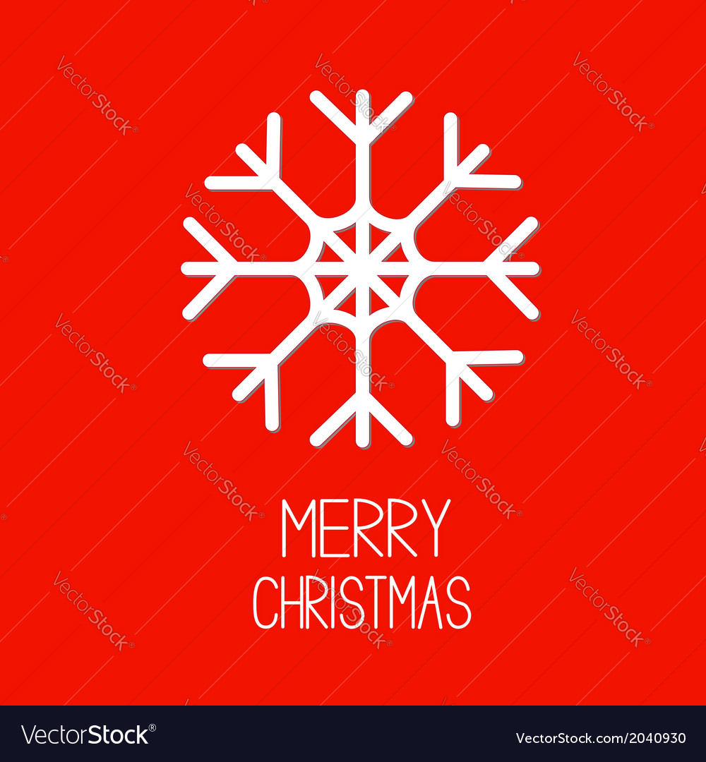 Big snowflake red background merry christmas card vector | Price: 1 Credit (USD $1)