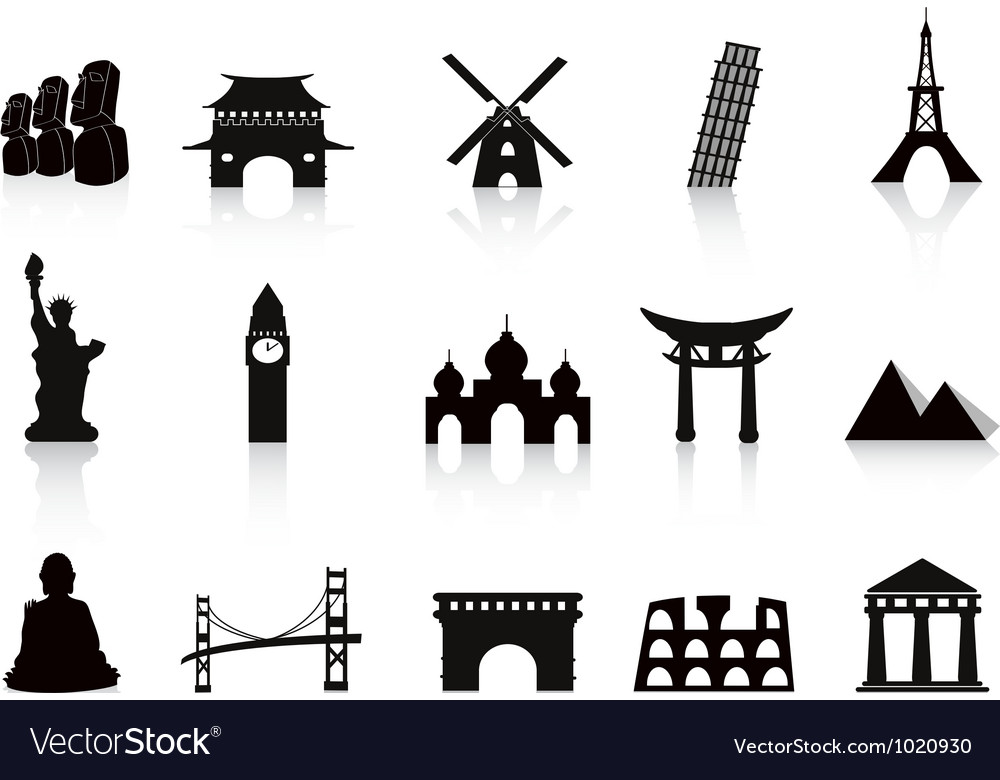 Black landmark icons vector | Price: 1 Credit (USD $1)