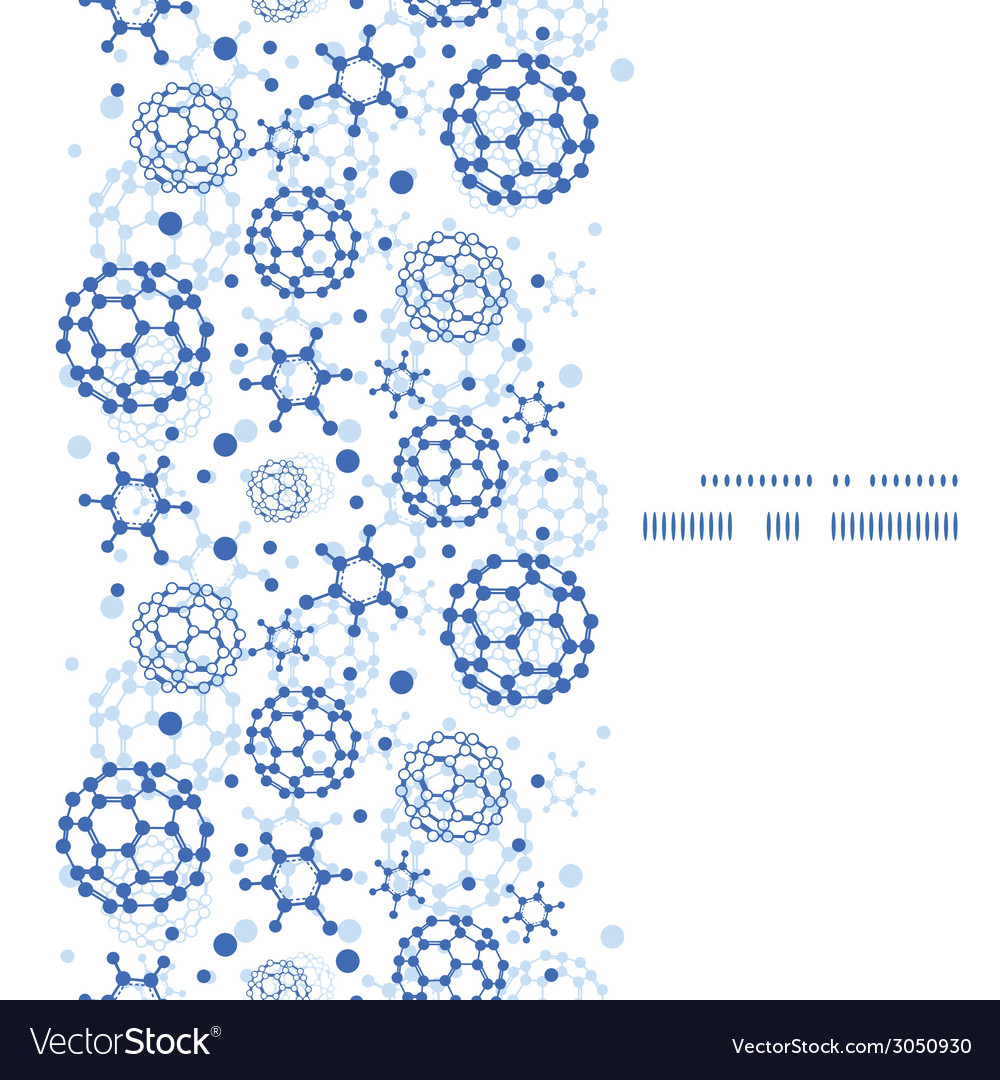 Blue molecules texture vertical frame seamless vector | Price: 1 Credit (USD $1)
