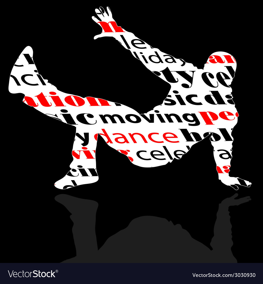 Break dance man with word vector | Price: 1 Credit (USD $1)