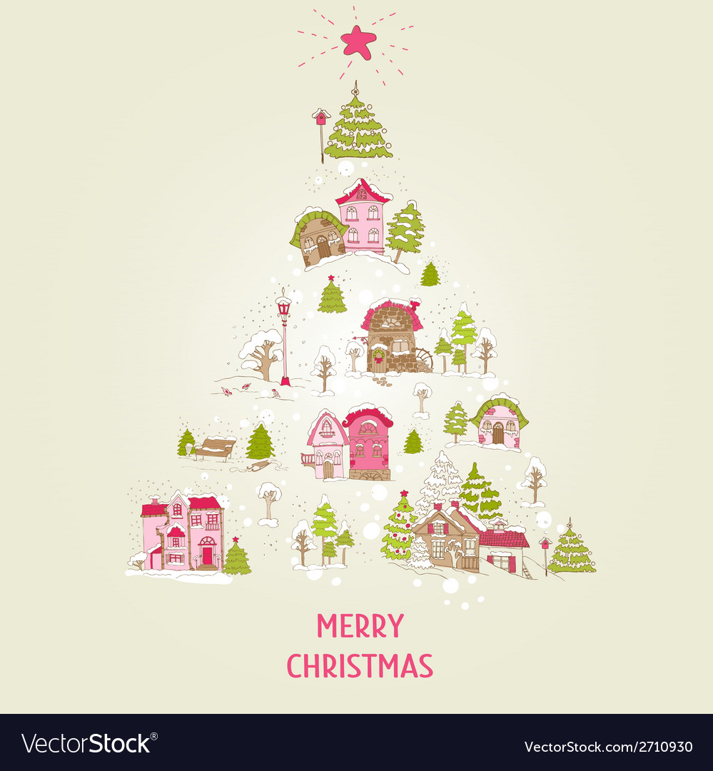 Christmas card with christmas houses vector | Price: 1 Credit (USD $1)