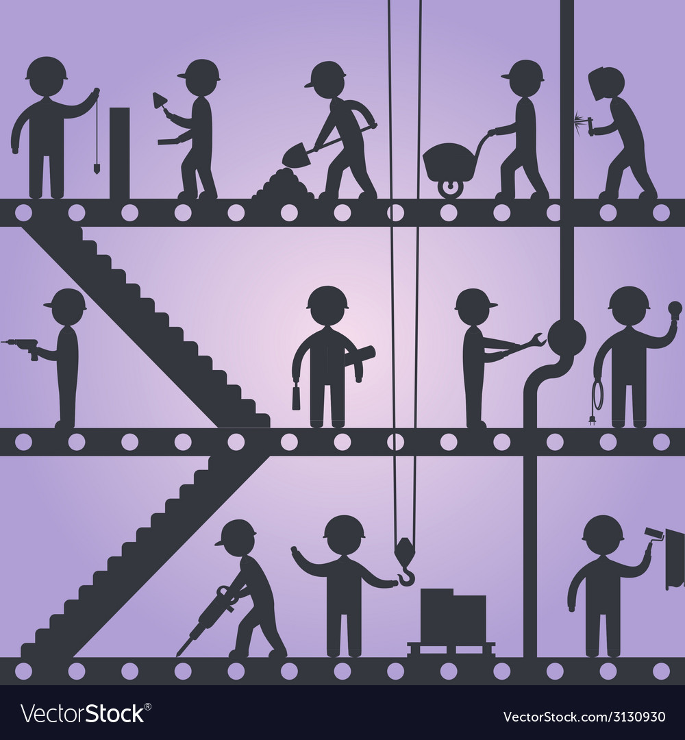 Construction worker silhouettes vector | Price: 1 Credit (USD $1)