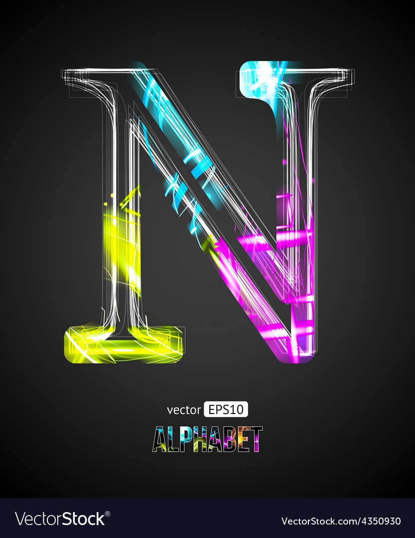 Design light effect alphabet letter n vector | Price: 1 Credit (USD $1)