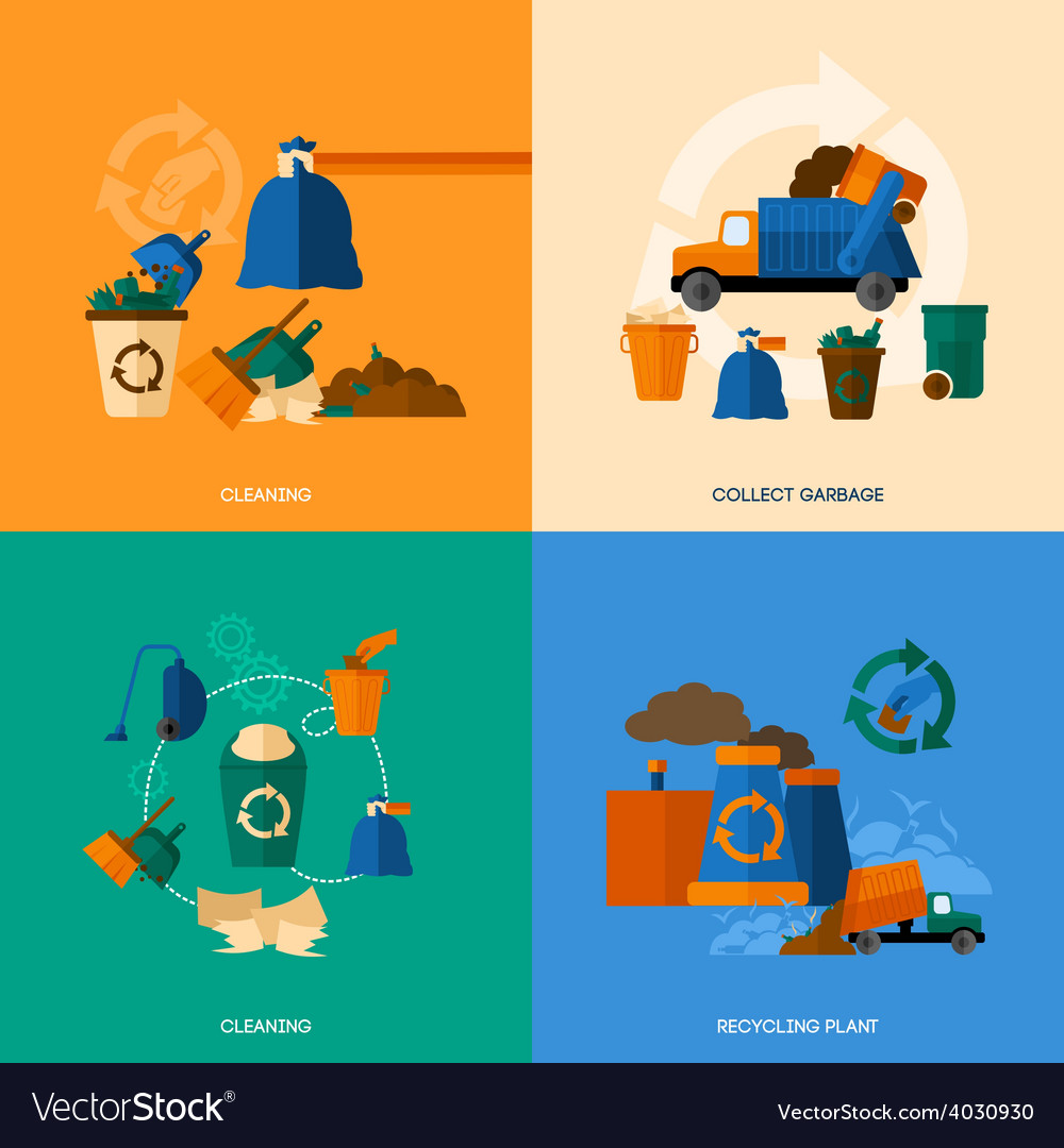 Garbage icons flat vector   Price: 1 Credit (USD $1)