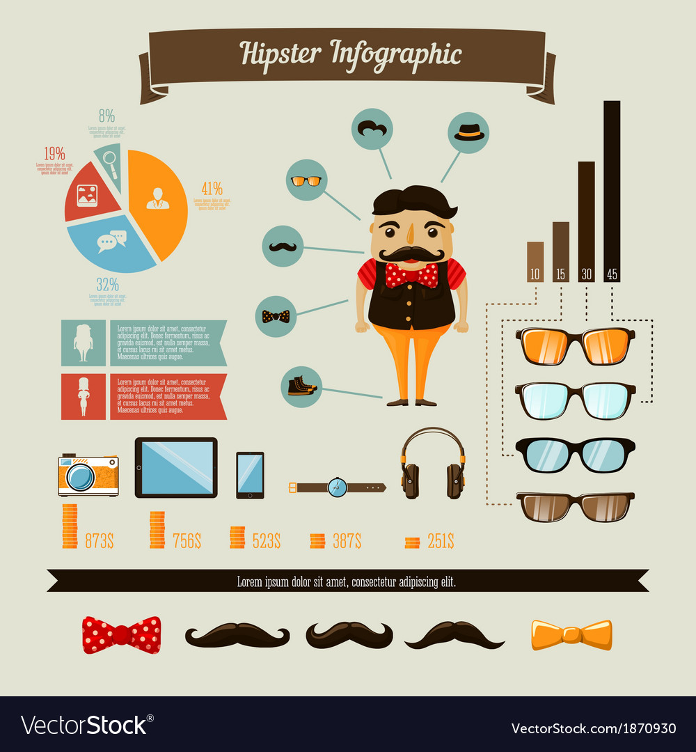 Hipster infographics elements set with geek boy vector | Price: 1 Credit (USD $1)
