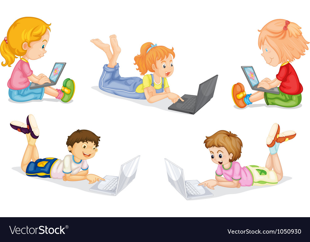 Kids with laptop vector | Price: 3 Credit (USD $3)