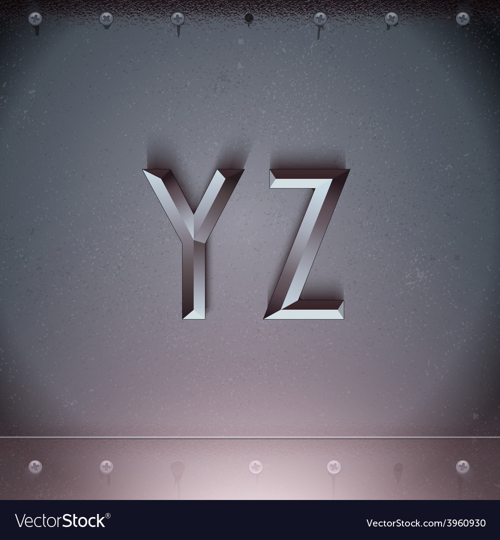 Metal embossed font from y to z vector | Price: 3 Credit (USD $3)