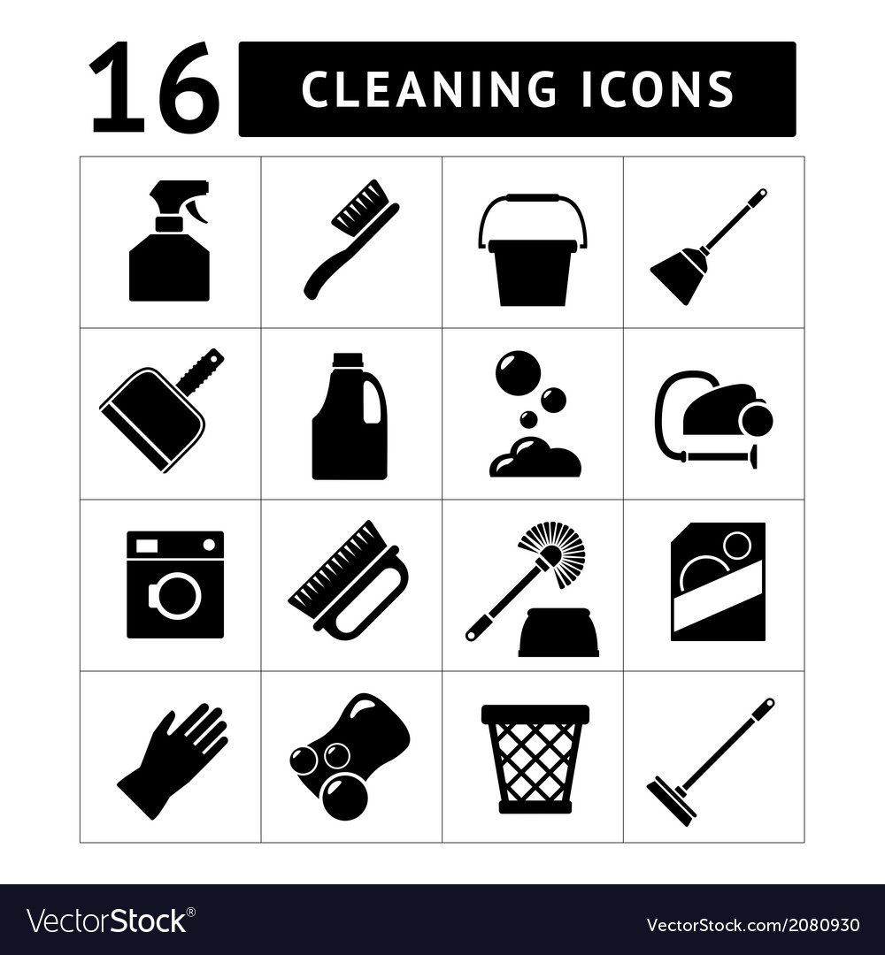 Set icons of cleaning vector | Price: 1 Credit (USD $1)