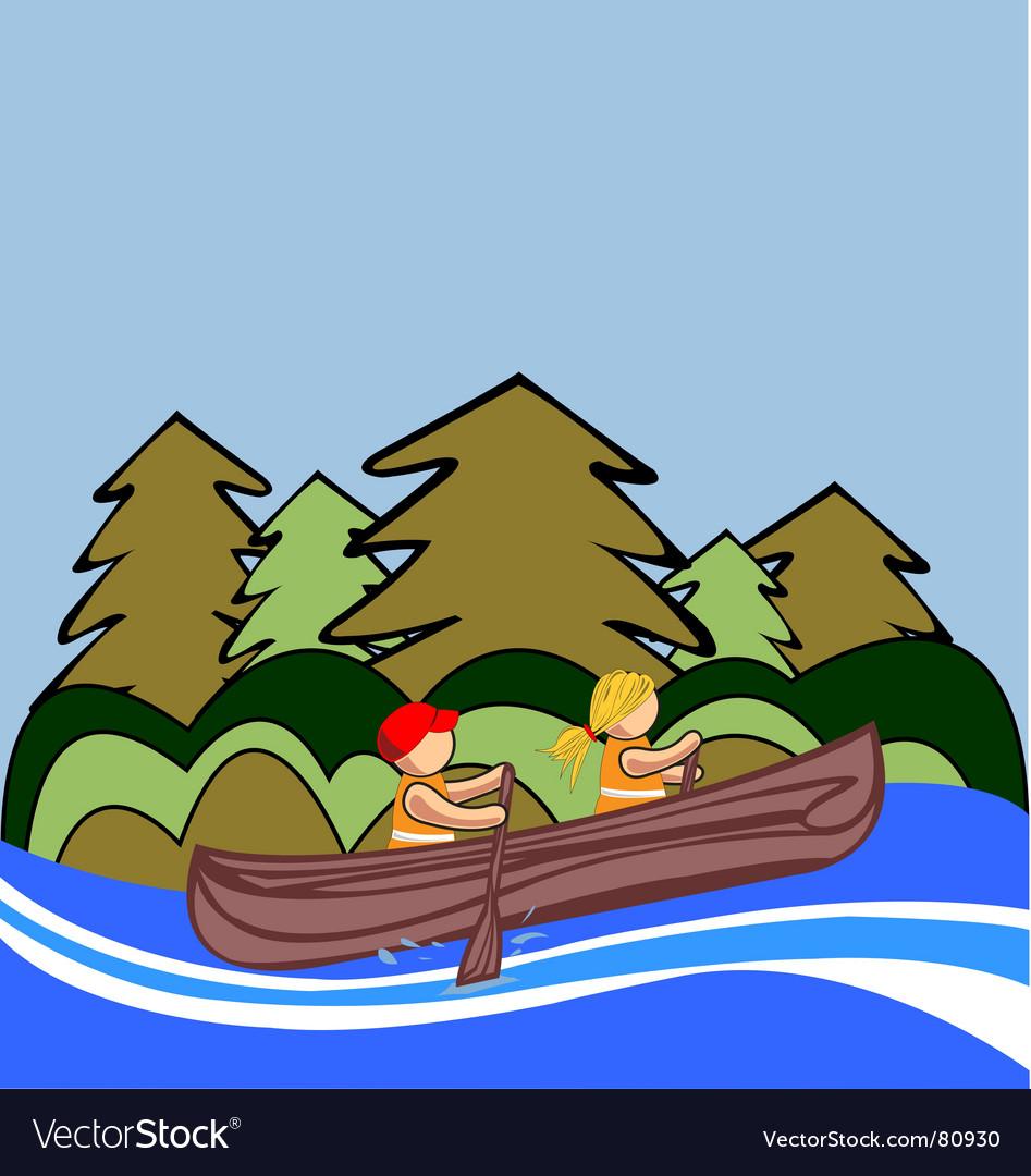 Two kids canoe vector