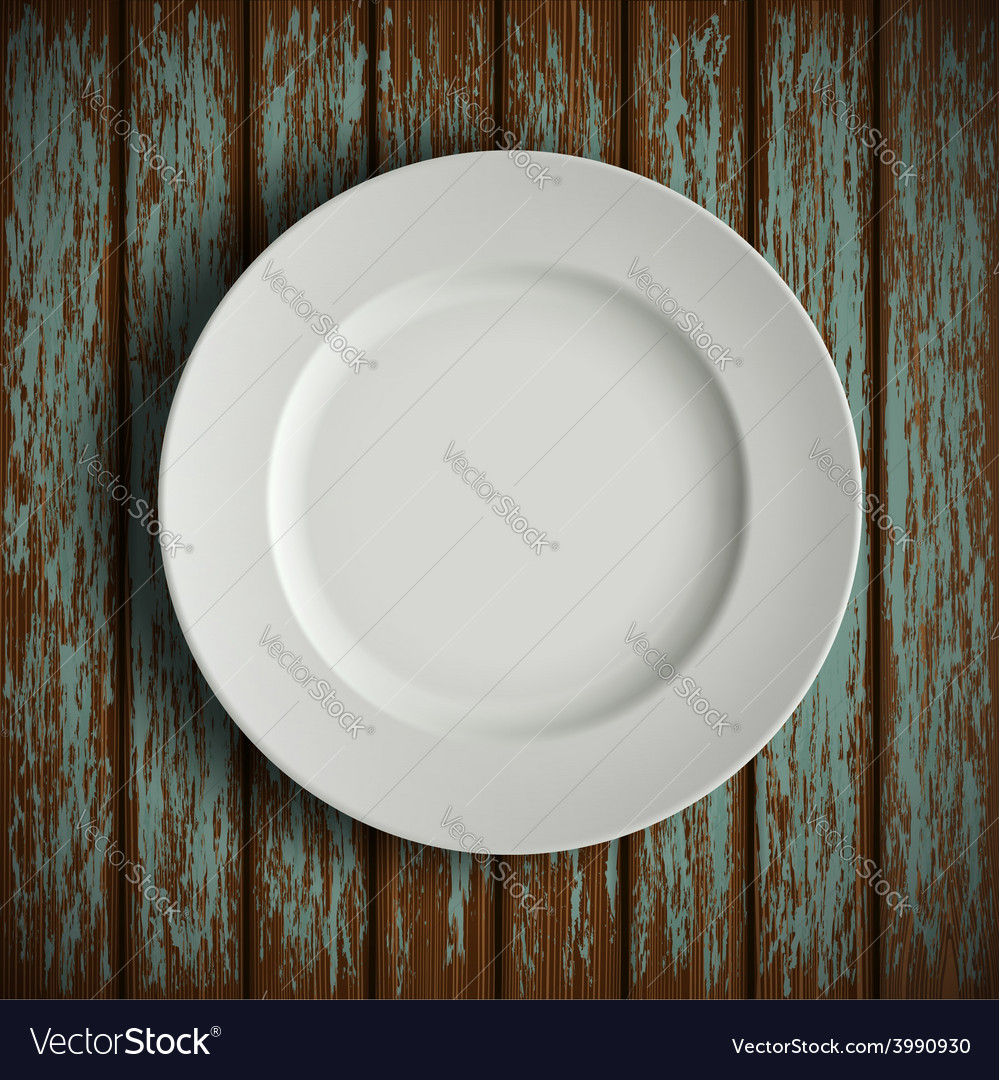 White plate on old wooden table vector | Price: 1 Credit (USD $1)