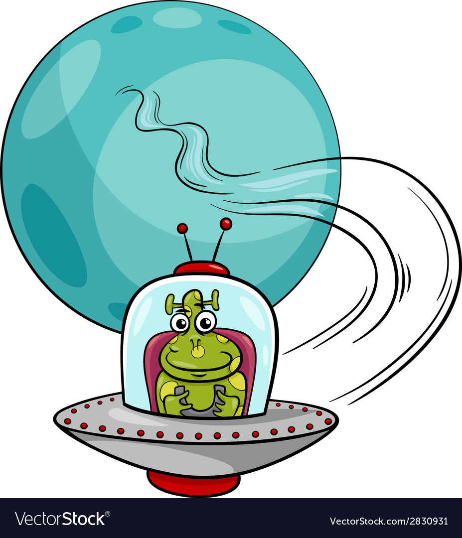 Alien in ufo cartoon vector | Price: 1 Credit (USD $1)