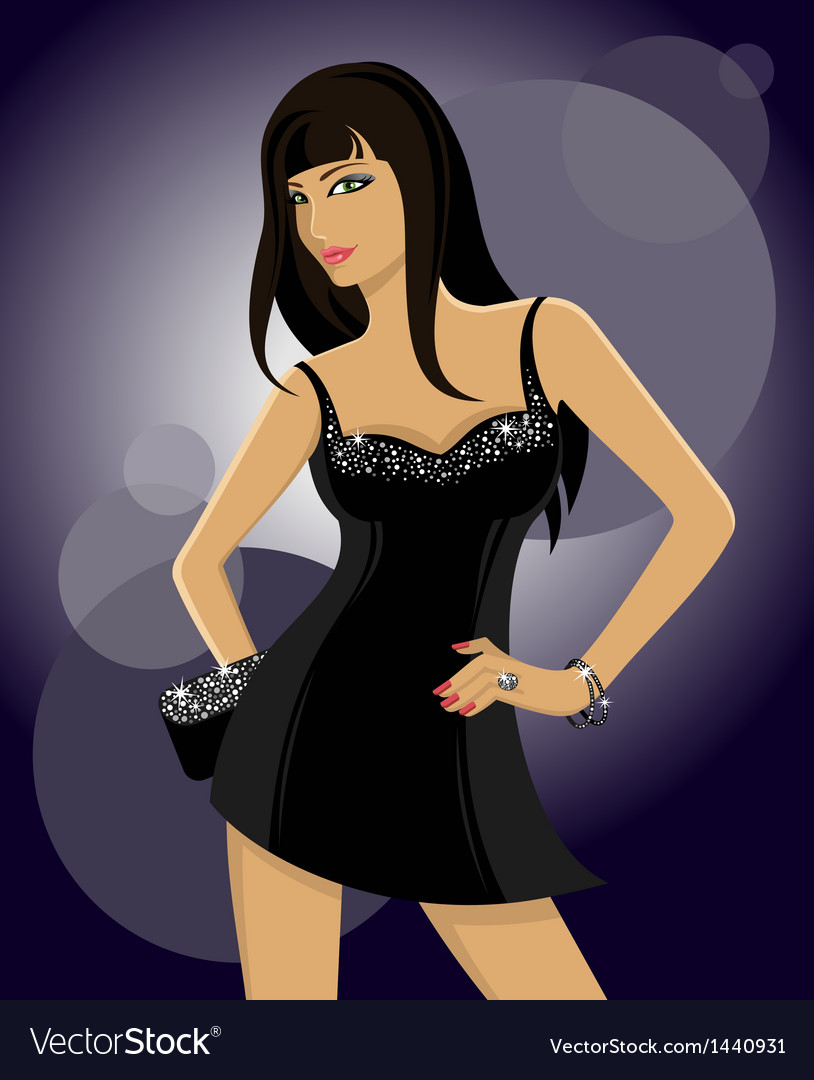 Clubbing glamorous girl vector | Price: 1 Credit (USD $1)