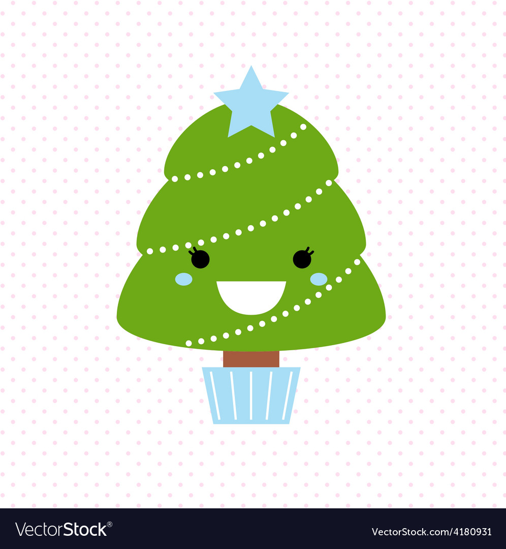 Cute christmas tree isolated on dotted background vector | Price: 1 Credit (USD $1)