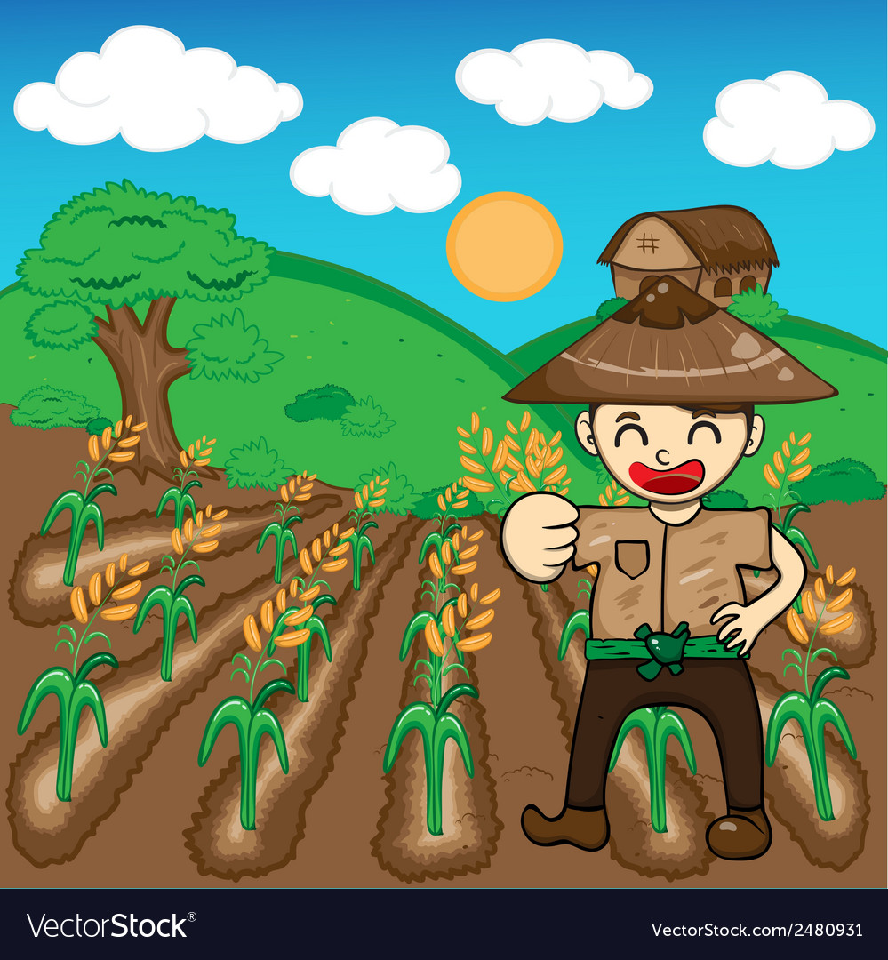 Farmer and rice a harvest cartoon vector | Price: 1 Credit (USD $1)