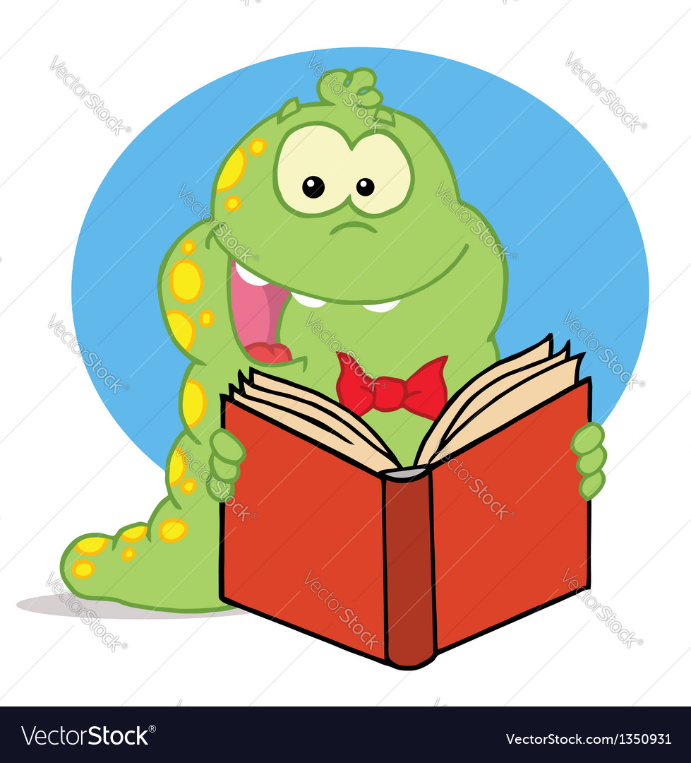 Green caterpillar reading an entertaining book vector | Price: 1 Credit (USD $1)