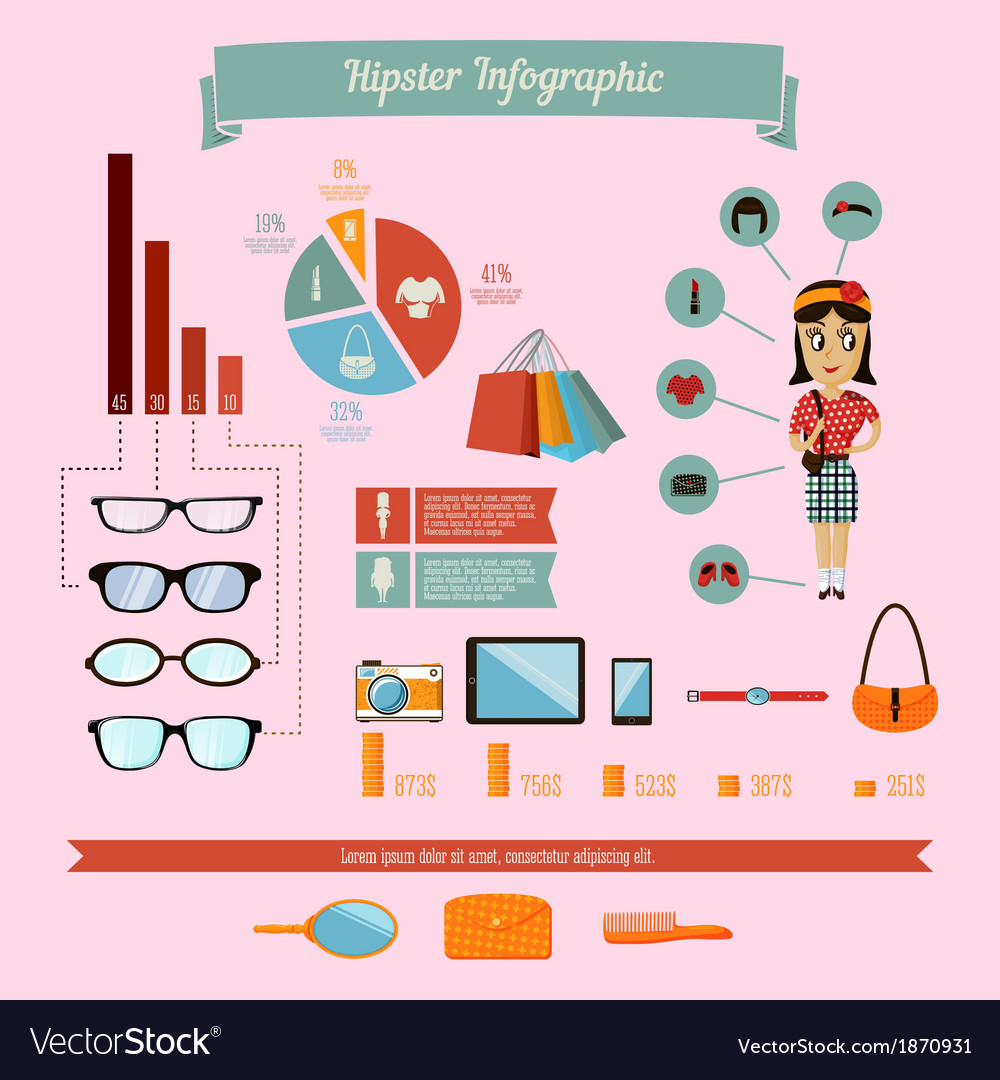 Hipster infographics elements set with geek girl vector | Price: 1 Credit (USD $1)
