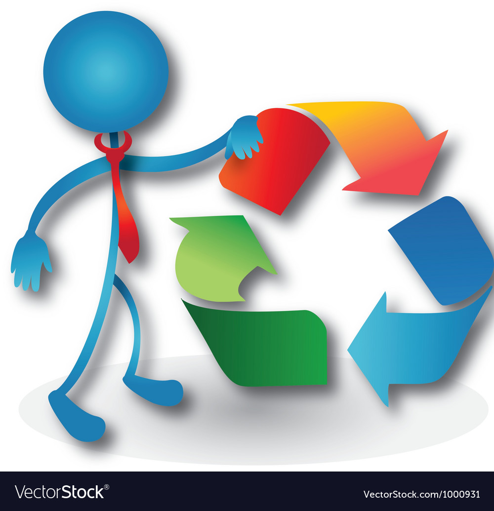 People with a recycling symbol vector | Price: 1 Credit (USD $1)