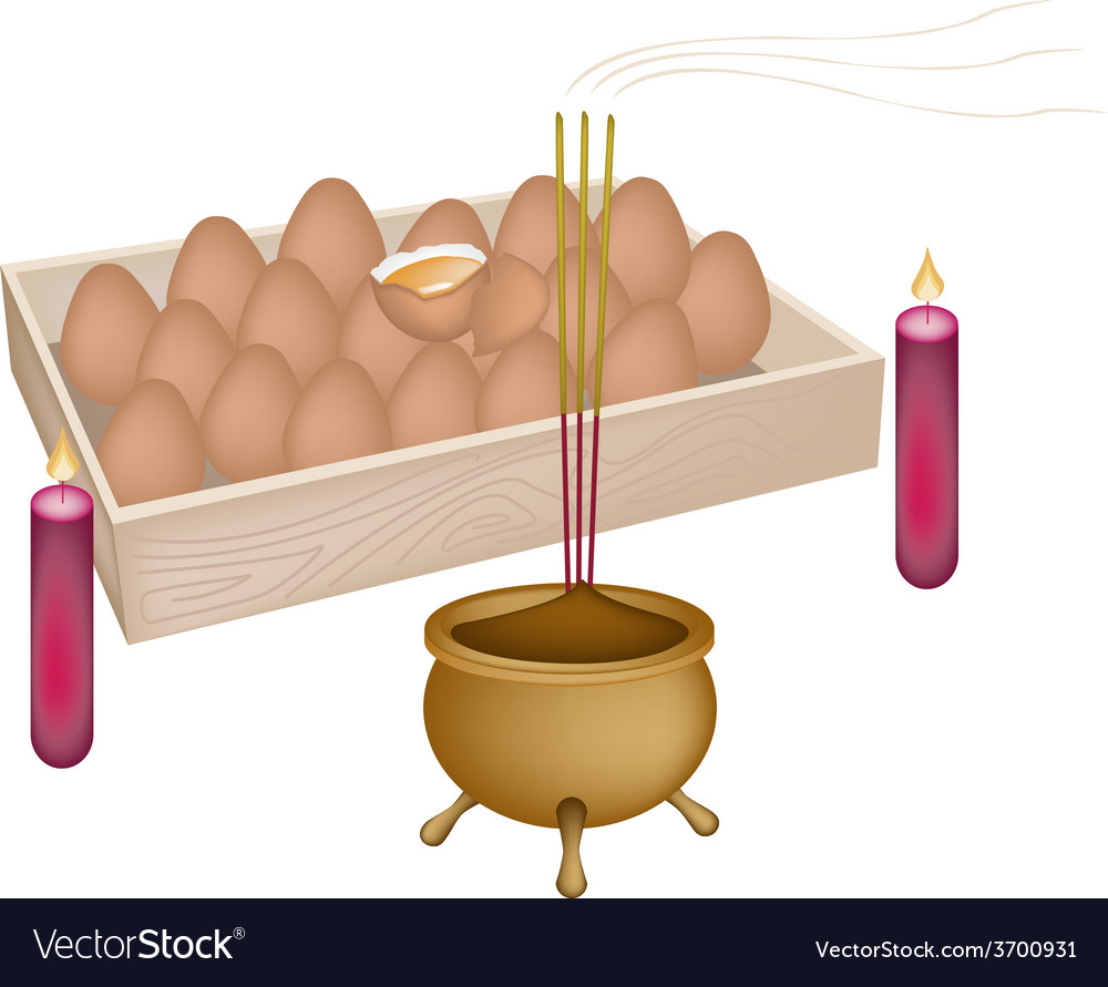 Red candle and joss stick with incense burner vector | Price: 1 Credit (USD $1)