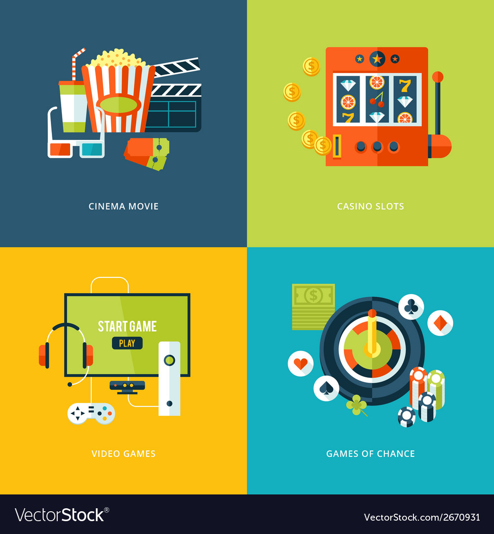 Set of flat design concept icons for entertainment vector | Price: 1 Credit (USD $1)