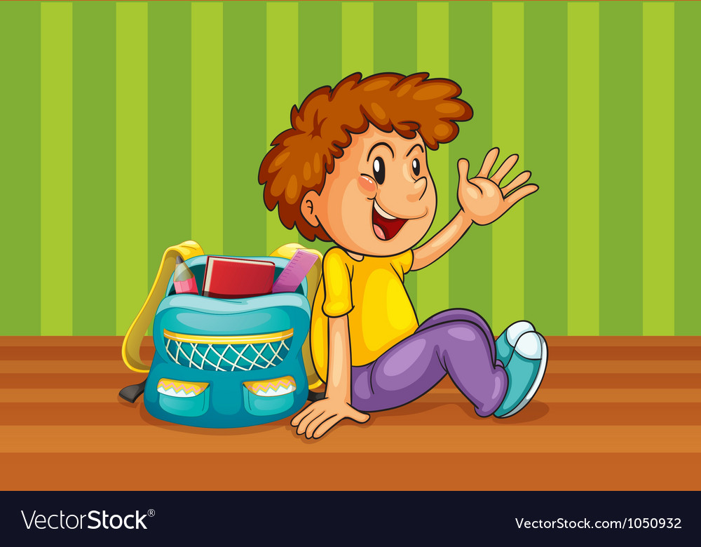 A boy with school bag vector | Price: 1 Credit (USD $1)