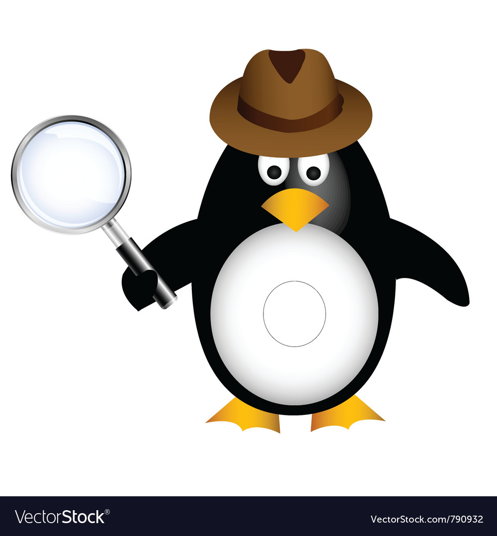 Detective penguin with magnifying vector | Price: 1 Credit (USD $1)