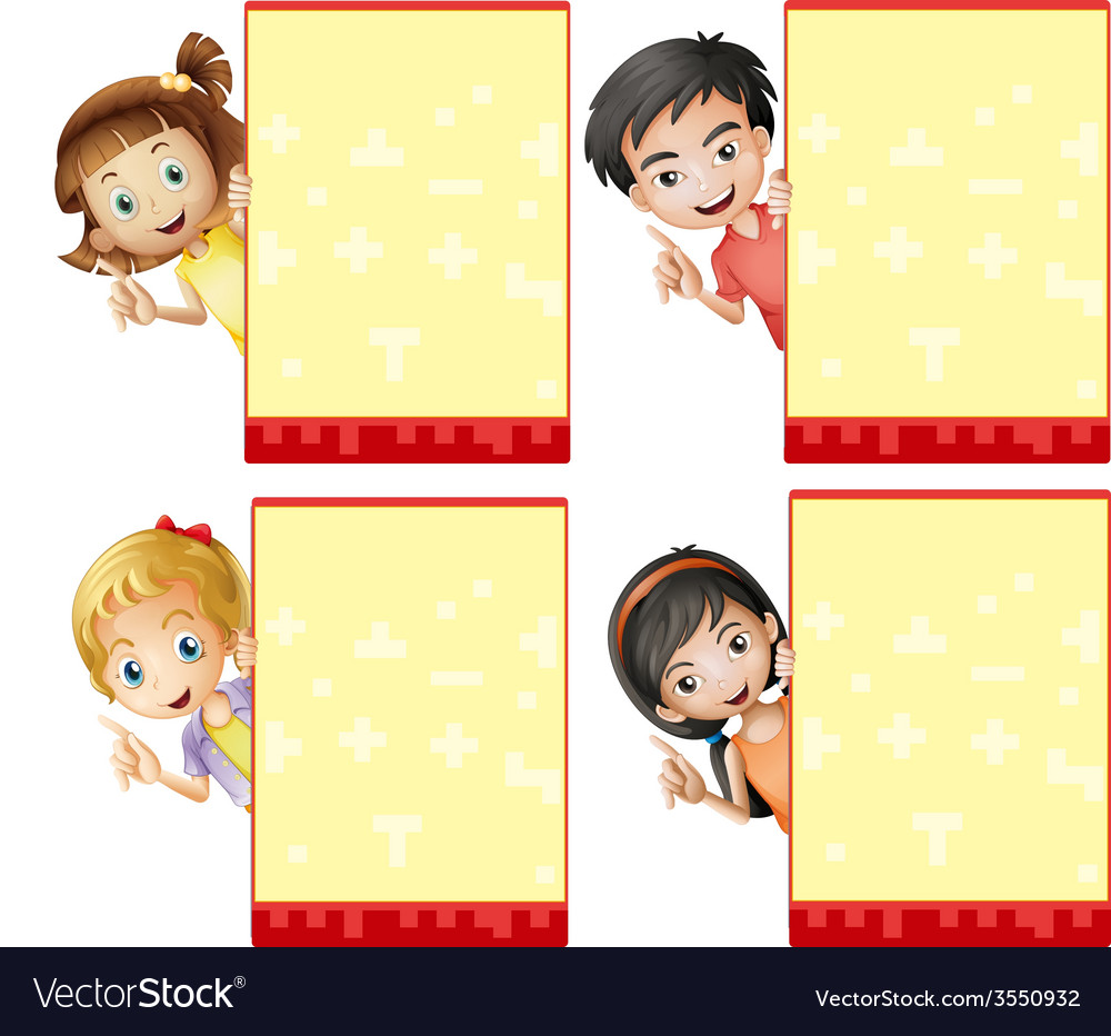Kids and signs vector | Price: 1 Credit (USD $1)