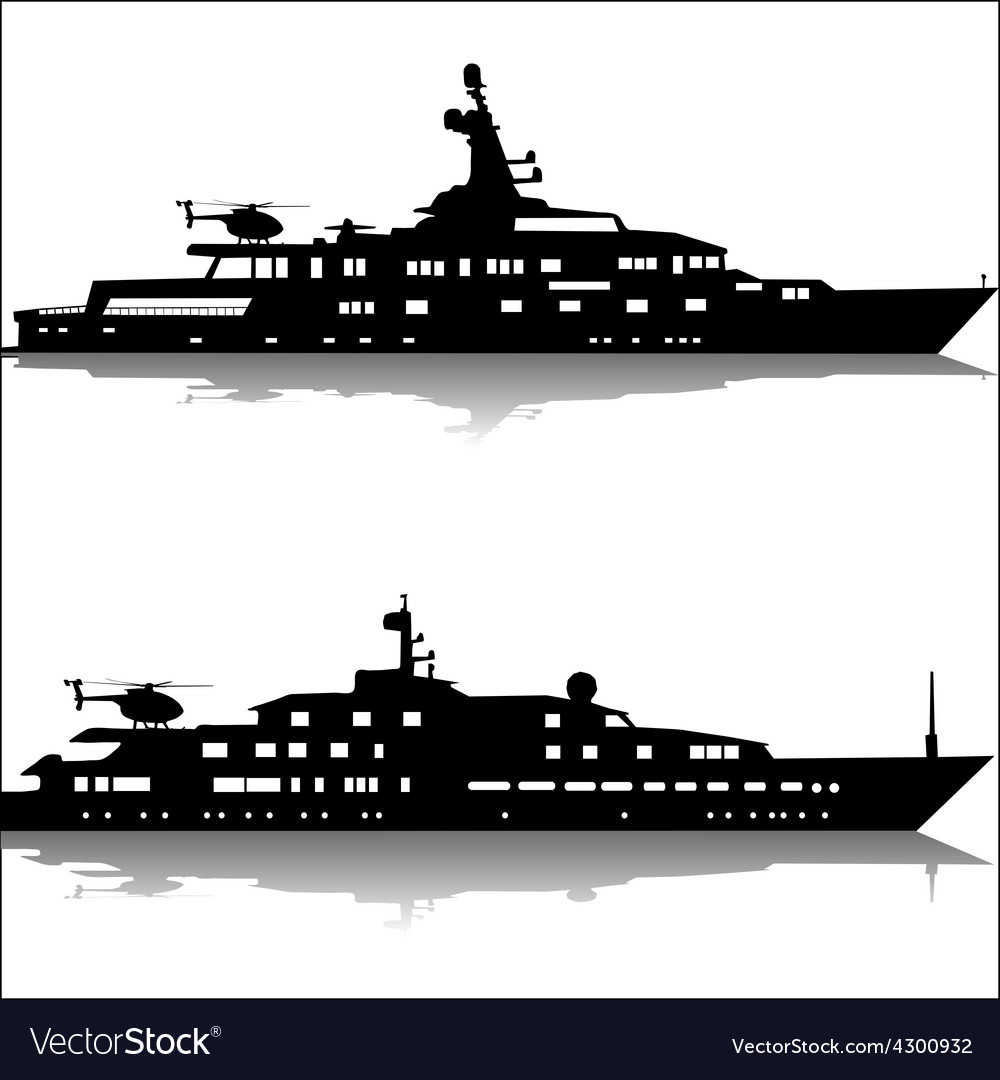 Large yachts with helicopters vector | Price: 1 Credit (USD $1)