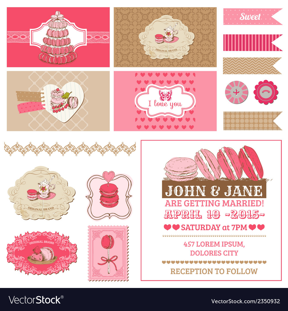 Macaroons and dessert collection vector | Price: 3 Credit (USD $3)