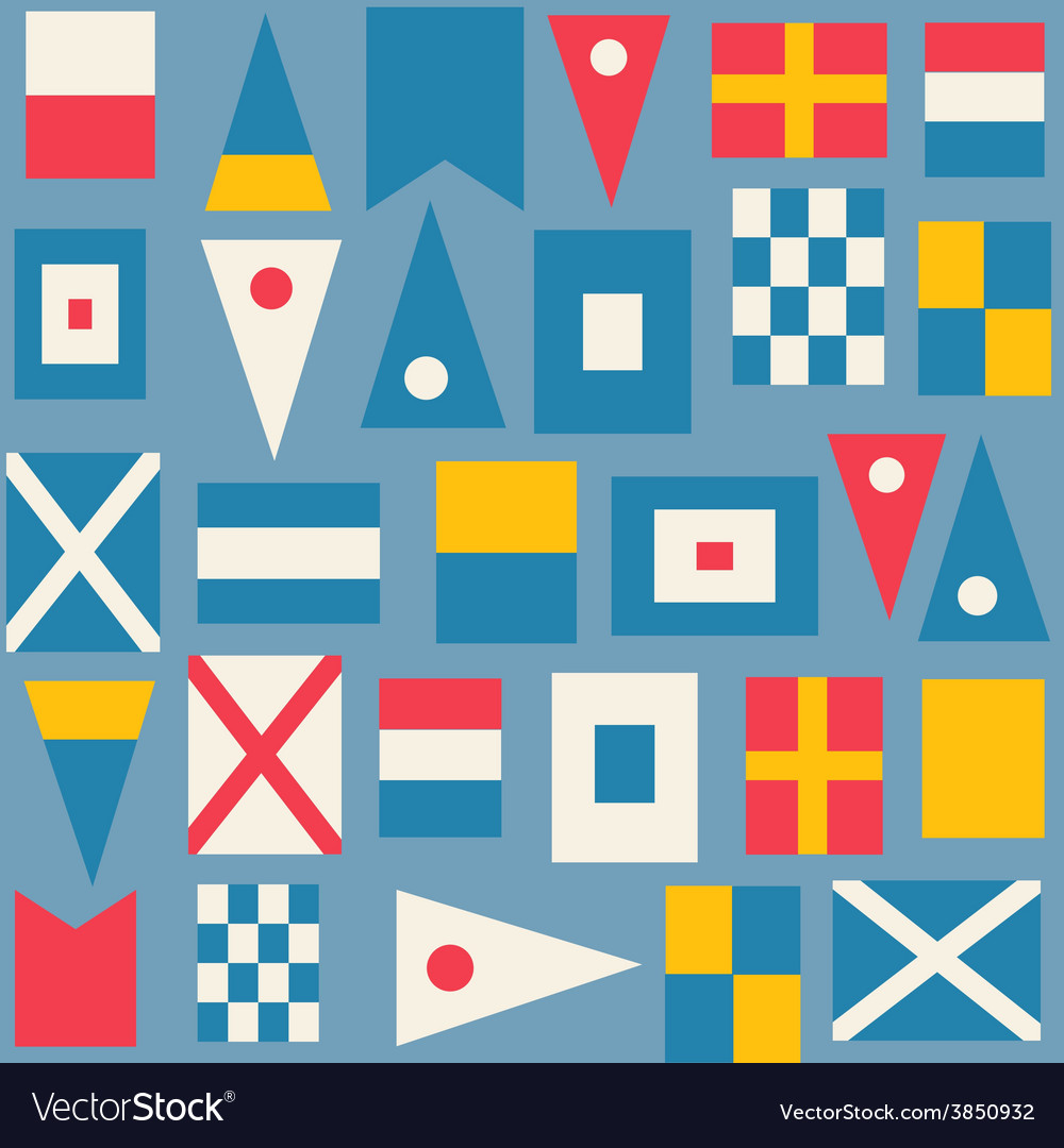 Maritime signal flags seamless pattern vector | Price: 1 Credit (USD $1)