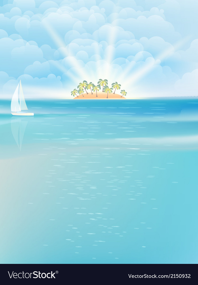 Sea island blue sky sand sun eps 10 vector | Price: 1 Credit (USD $1)