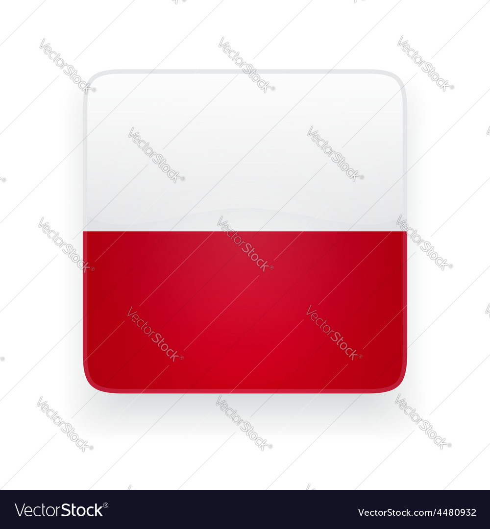 Square icon with flag of poland vector | Price: 1 Credit (USD $1)