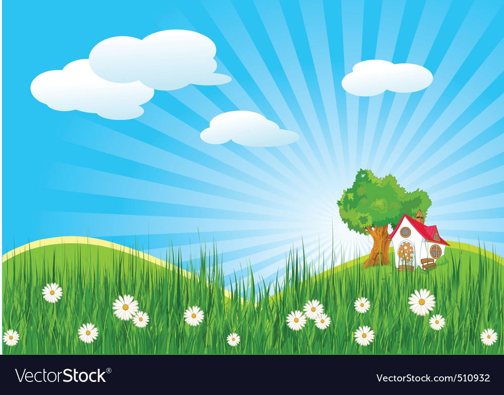 Summer landscape with little house vector | Price: 3 Credit (USD $3)