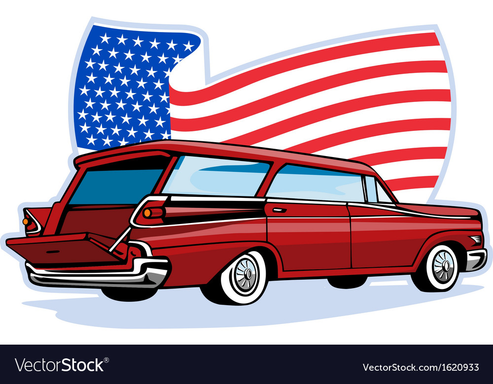 1950s styled station wagon with american flag vector | Price: 1 Credit (USD $1)