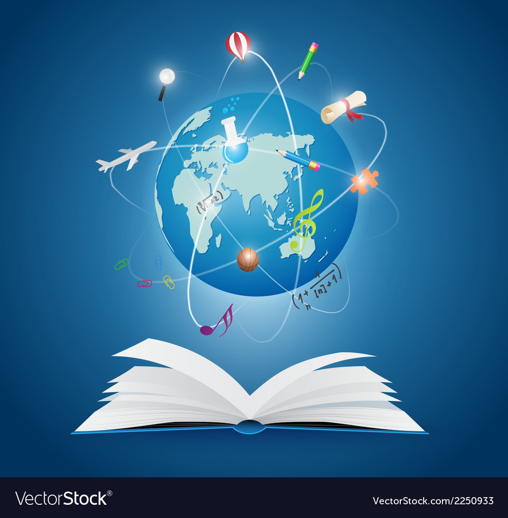 Books with world of science vector | Price: 1 Credit (USD $1)
