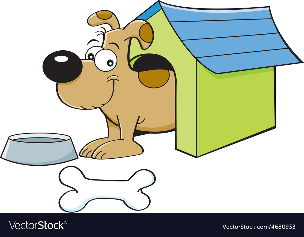 Cartoon dog in a doghouse vector | Price: 1 Credit (USD $1)