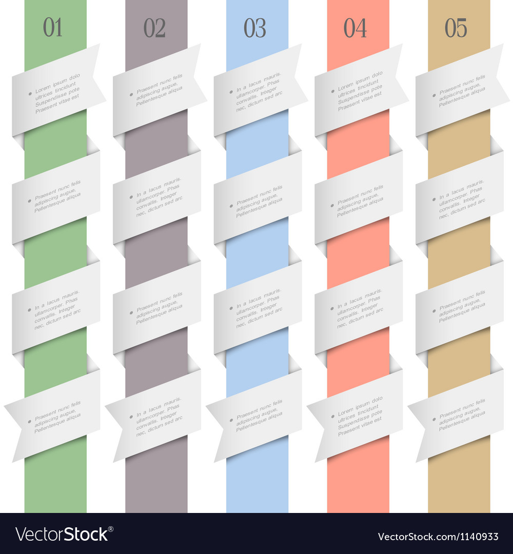 Colored numbered banners in origami style vector | Price: 1 Credit (USD $1)