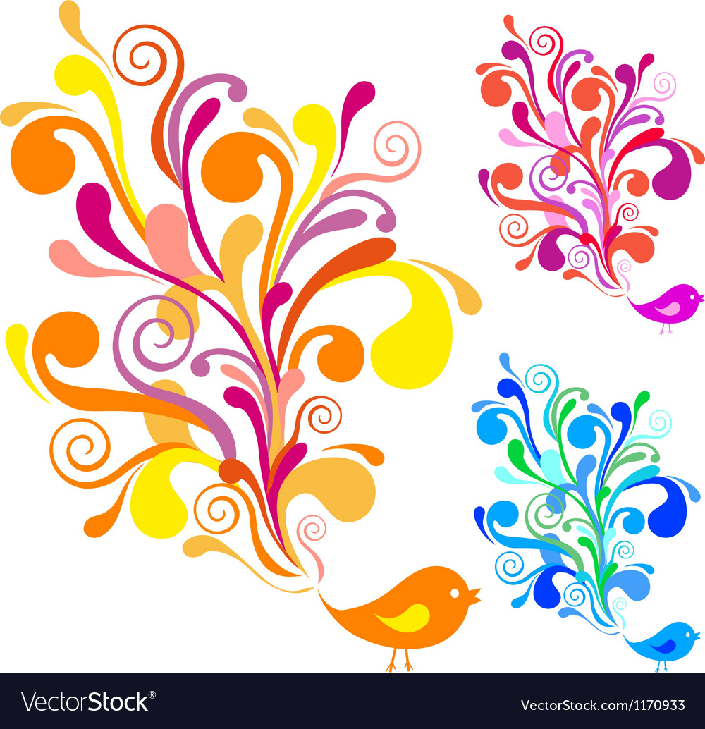 Colorful bird with floral swirls vector | Price: 1 Credit (USD $1)