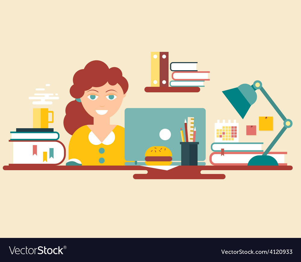 Flat style design work place vector | Price: 1 Credit (USD $1)