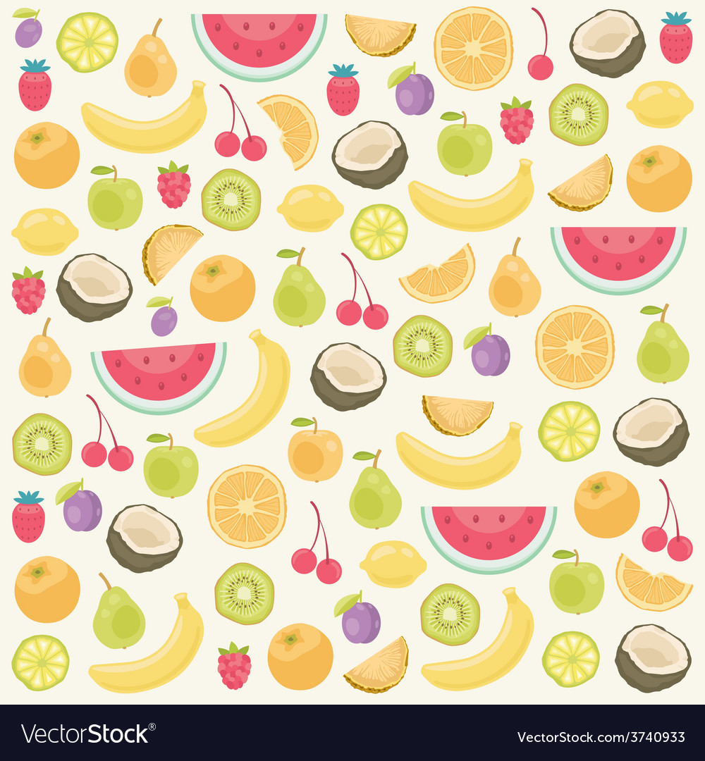 Fruits seamless background vector | Price: 1 Credit (USD $1)