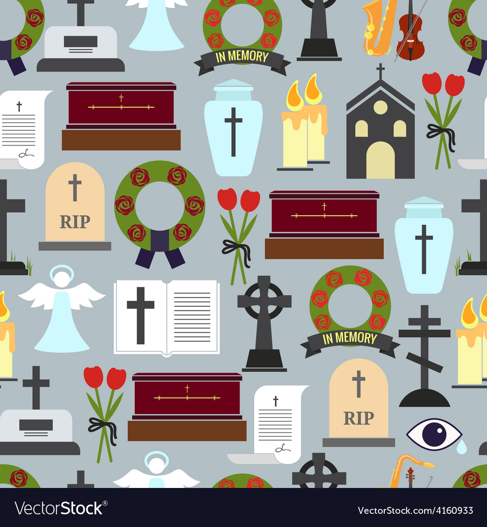 Funerals and mournful ceremony patterns vector | Price: 1 Credit (USD $1)