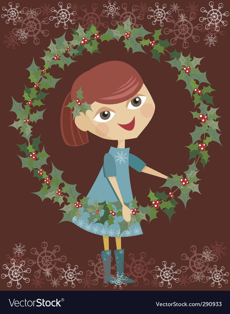 Girl holding wreaths vector | Price: 3 Credit (USD $3)