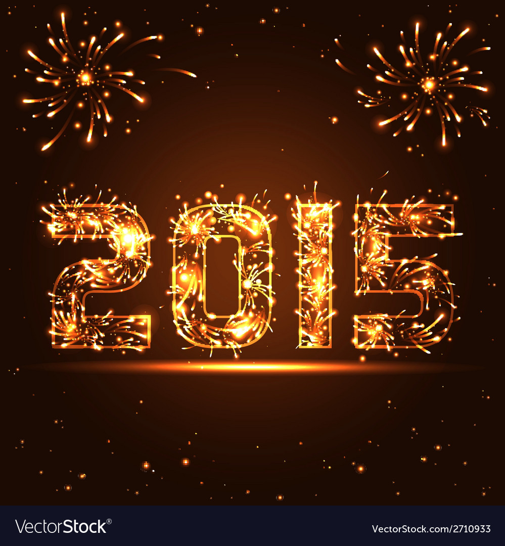 Happy new year  2015  golden fireworks numbers vector