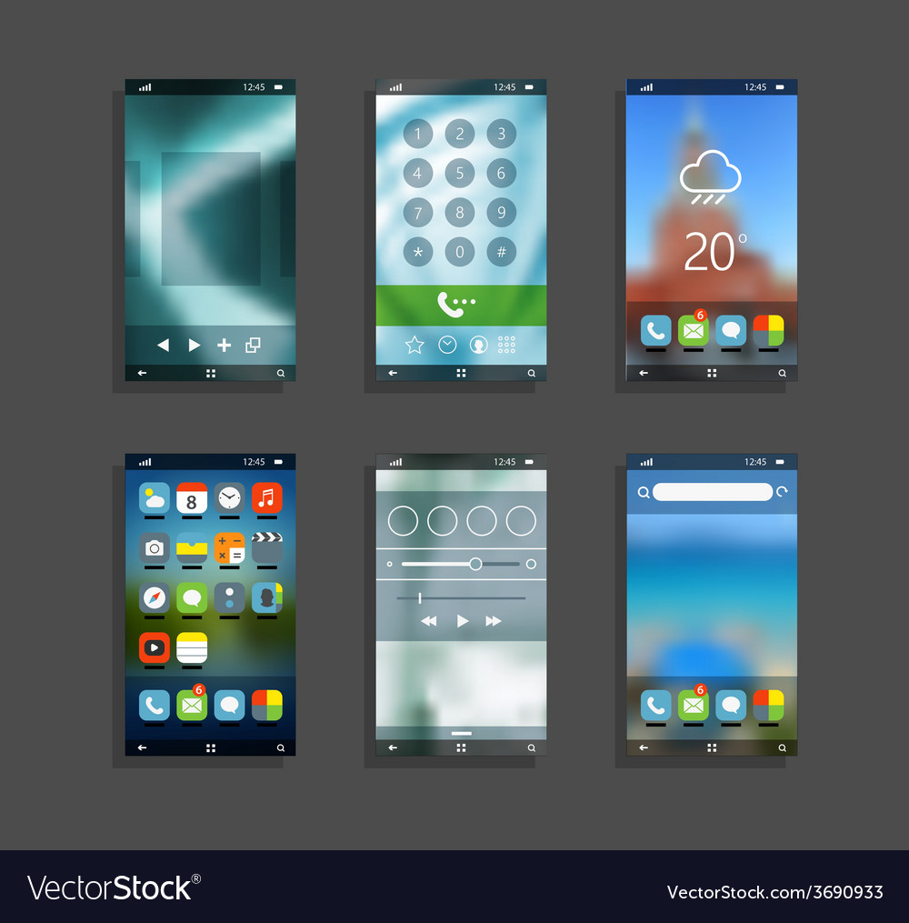 Modern smartphones with different application scre vector | Price: 1 Credit (USD $1)
