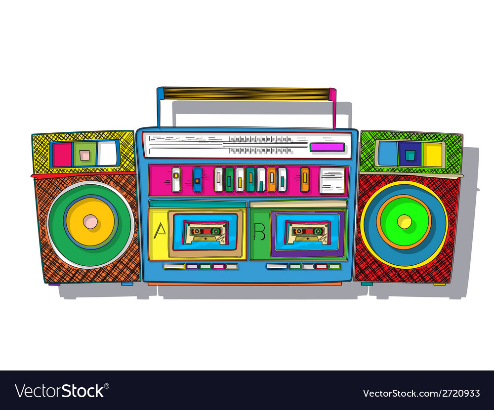 Pop art boombox vector | Price: 1 Credit (USD $1)