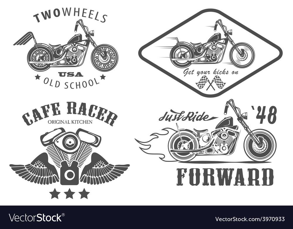 Set of vintage motorcycle badges vector | Price: 1 Credit (USD $1)