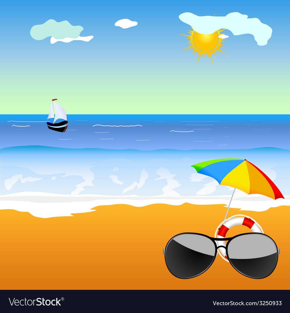 Sunglass on the beach vector | Price: 1 Credit (USD $1)