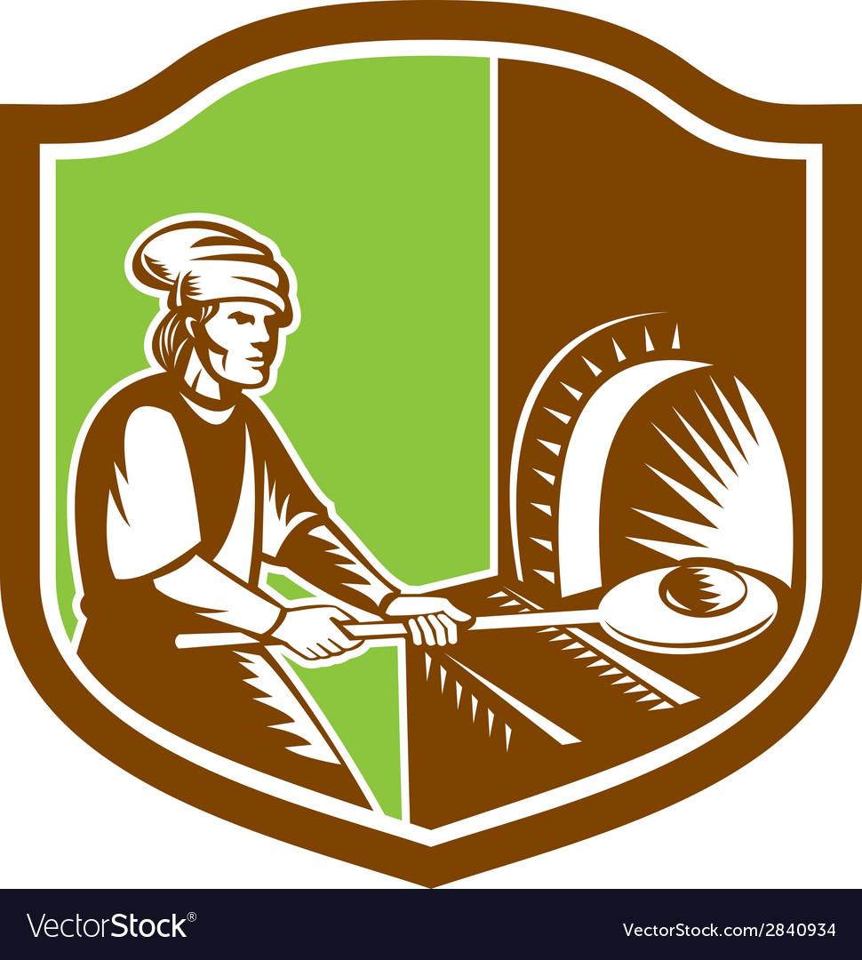 Baker peel bread pan shield retro vector   Price: 1 Credit (USD $1)
