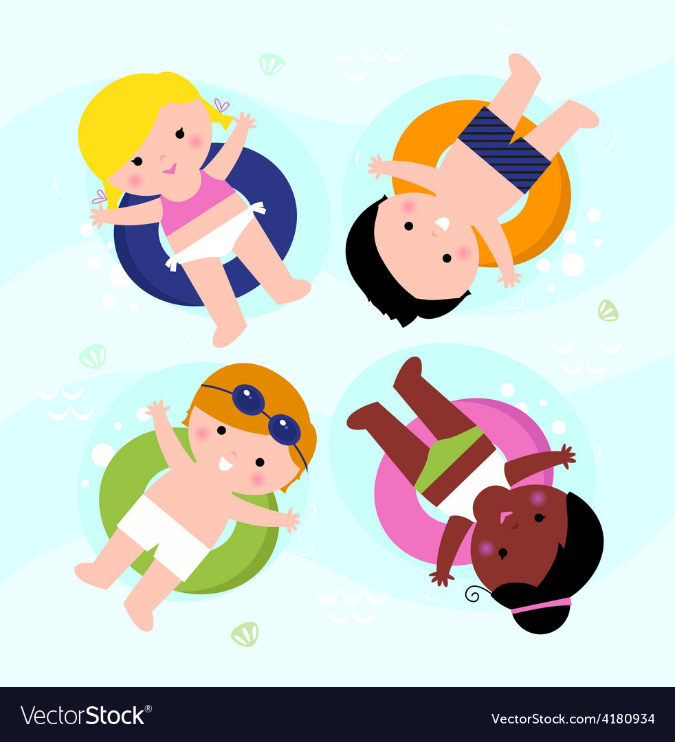 Beautiful smiling summer kids on water vector | Price: 1 Credit (USD $1)